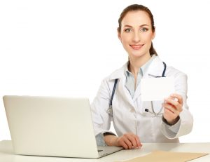 a female testosterone doctor holding an empty card isolated on white background  300x231