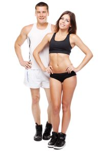 stock photo beautiful healthy looking young couple in sports outfit 106599248 200x300
